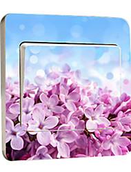 Floral pourpre petites fleurs autocollants interrupteur de lumière, autocollants amovibles