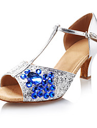 Donna Incredibile Sparkling Glitter Blue Colore Strass T Strap ballo latino Scarpe da ballo Dandals