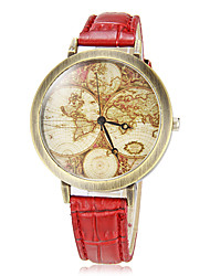 Mulheres Mapa Vintage Pattern Round Dial Pu banda quartzo analógico relógio de pulso (cores sortidas)