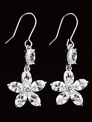 Sweet Platinum Plated With Zircon Flower Shaped Women's Drop Earrings