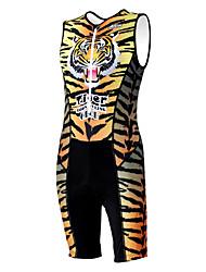 KOOPLUS - Триатлон тигровые полосы Желтый рукавов Износ и шорты Сиамские задействуя одежда
