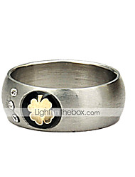 Gehen Favor Klassische Titan Stahl Paar Ring Clover Lovers