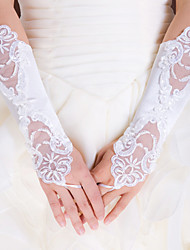 Elbow Length Fingerless Glove Elastic Satin Bridal Gloves / Party/ Evening Gloves Spring / Summer / Fall White / Ivory