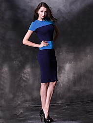 Women's Sexy / Casual / Cute Color Block Bodycon Dress , Crew Neck Knee-length / Above Knee