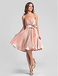 Bridesmaid Dress Knee Length Stretch Satin A Line Strapless Dress with Pleats