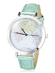 Women's Map Pattern Round Dial Pu Band Quartz Analog Wrist Watch (Assorted Colors)