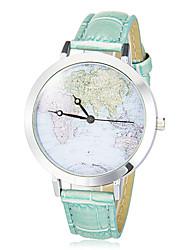 Женские Модные часы Японский Кварцевый PU Группа Винтаж World Map Pattern Черный Белый Синий Розовый