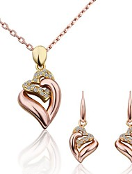 Women's Fashion 18K Rose Gold Diamond Ring Heart (Necklace&Earrings) Jewelry Sets