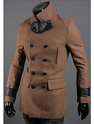 PU Cuir Hommes Manteau Couture seins double tranchée