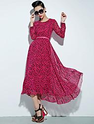 GMFI Round Collar Leopard High Waist Dress Without Belt