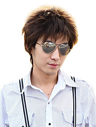 High Quality Synthetic Side Bangs Capless Short Straight Men's Wig(Dark Brown)