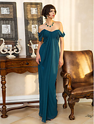 Formal Evening/Military Ball Dress - Ink Blue Sheath/Column Sweetheart Floor-length Georgette