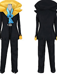 Inspired by One Piece Brook Anime Cosplay Costumes Cosplay Suits Color Block Black Coat / Pants / Tie