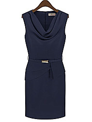 MFL Sleeveless Drape Neck Dress(Royal Blue)