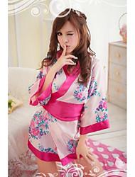 Blanco impreso floral japonés camisa de dormir de la señora