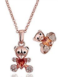 Fashion Bear Tin Alloy Rose Golden Plated Jewelry Set