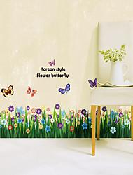 1PCS borboletas coloridas sobre Flores parede Linha Rodapé Etiqueta