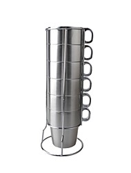 7-em-1 de aço inoxidável Contra Hot Coffee / Leite / Cerveja / Água Cup Set - prata (300 mL)