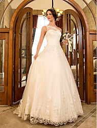 Lanting A-line/Princess Plus Sizes Wedding Dress - Ivory Sweep/Brush Train One Shoulder Tulle/Lace