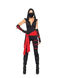 Halloween Costume é legal preto Ninja Mulheres Poliéster