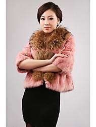 Coelho mangas 3/4 Raccoon Fur Collar Casual Fur / Festa Jacket (mais cores)