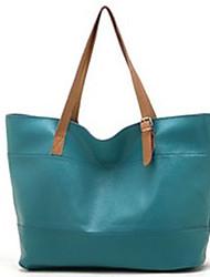 Erlen Women's Fashion Korean Style Solid Color Tote/One Shoulder Bag(Sreen Color)