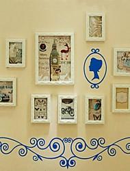 Colore bianco Photo Frame Collection Set di 9 con Wall Sticker
