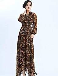 Patrón del leopardo de las mujeres Adalyn largo vestido de gasa mangas