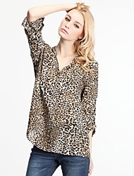 Women's Leopard Black/Yellow Blouse/Shirt , Deep V ¾ Sleeve