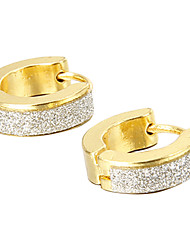 Gift For Boyfriend Fashion Glitter Gold Titanium Steel Stud Earrings (1 Pair) Jewelry