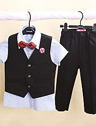 Blue/Pink/White Polester/Cotton Blend Ring Bearer Suit - 4 Pieces