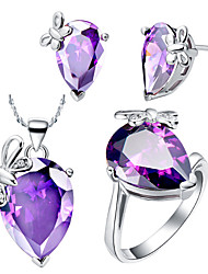 Drop Multicolor Cubic Zirconia (Necklaces&Earrings&Rings) Gemstone Jewelry Sets