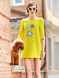 Casual Loose Fit Rodada de Lishang Mulheres de idade vestido de manga (amarelo)