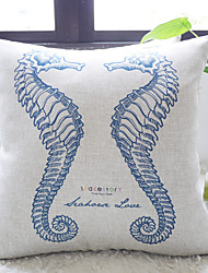 Elegante Blue Sea Horses In Love Dekorative Kissenbezug