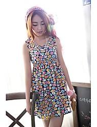 Frauen Ärmelloses Printed Flower Dress