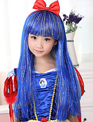 100% Kanekalon Synthetic Light Ash Blonde Long Straight Children's Wig for Festival Party