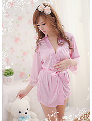 Bybs Women's Pink Silk Fabrics Bathrobe Nightwear