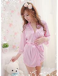 Bybs rosadas de las mujeres ropa de dormir de seda Telas Albornoz