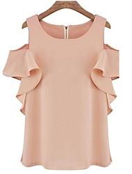 Women's Solid Beige/Black/Pink Blouse , Round Neck Short Sleeve Ruffle