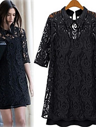 Yifei Casual Lace Middle Sleeve Dress(Black)