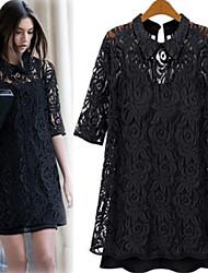 Vestido Yifei Casual Lace Medio manga (Negro)