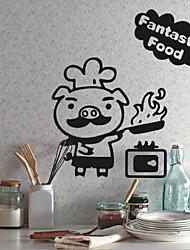 Animais Porco Chef parede da cozinha Adesivos decorativos