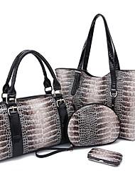 Fenghui Women'S  Pu Leather Shoulder Bag Evening Bag Small Bag Tote Four Piece Set