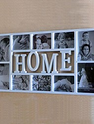 English Word Home White ABS Photo Wall Frame Collection Set of 10