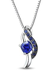 Classic Sterling Silver platinata con Creato zaffiro e Diamanti Collana Donna