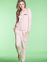 Весна и осень Новый Solid - хлопка с длинным рукавом пижамы Любители Главная Обстановка костюм