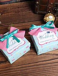 Light Blue Favor Boxes with Bow - Set of 6