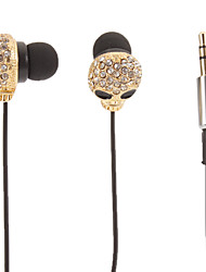 Skull-Shaped Ouro Stereo Headphone In-Ear (olhos pequenos)
