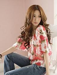 Women's Bubble Sleeves Rose Pattern Chiffon Blouse