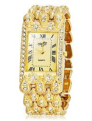 Frauen Rechteck Zifferblatt goldenen Legierung Band Quarz Analog Armband Uhr (verschiedene Farben)